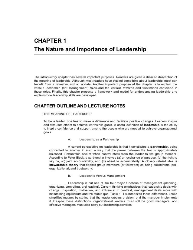 CHAPTER 1The Nature and Importance of LeadershipThe introductory chapter has several important purposes. Readers are given...
