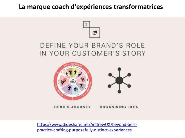La marque coach d'expériences transformatrices https://www.slideshare.net/AndrewUX/beyond-best- practice-crafting-purposef...
