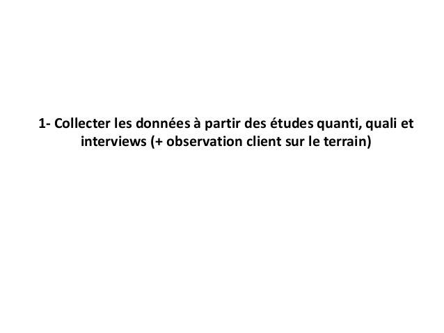 1- Collecter les données à partir des études quanti, quali et interviews (+ observation client sur le terrain)