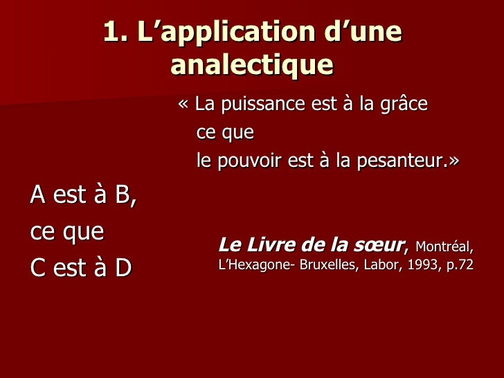 1. L'application d'une analectique <ul><li>A est à B,  </li></ul><ul><li>ce que  </li></ul><ul><li>C est à D </li></ul><ul...