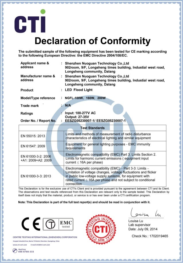 Led Flood Light Ce Certificate