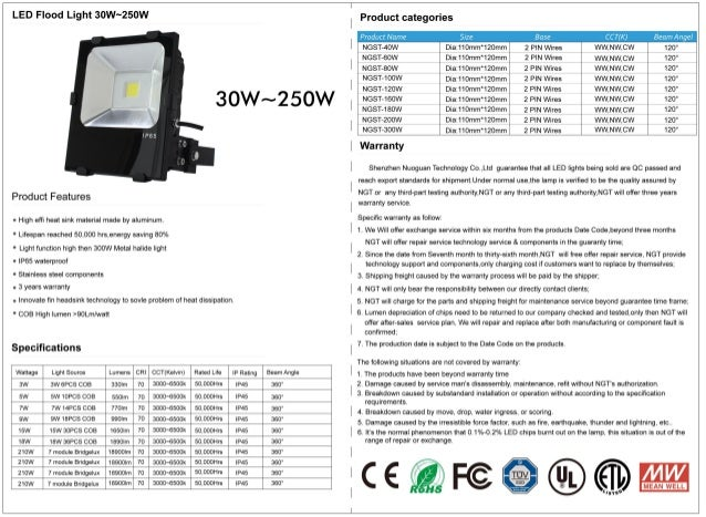 LED Flood Light 3ow~25ow pmduct categories     Product Name CCT(K) Beam Angel NGST-40W Dia:1'l0mm'120mm 2 PIN Wires WW, NW...