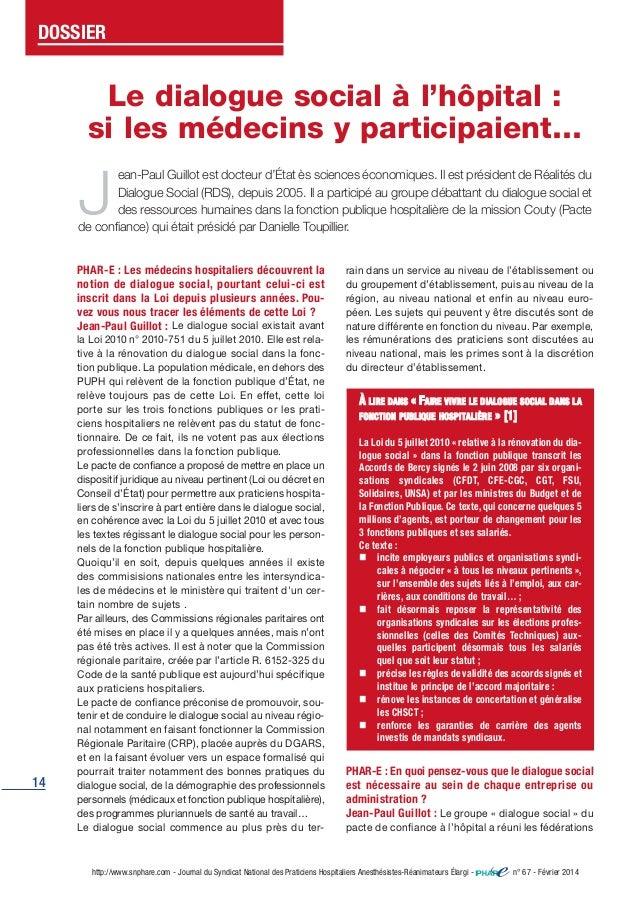 14 http://www.snphare.com - Journal du Syndicat National des Praticiens Hospitaliers Anesthésistes-Réanimateurs Élargi - n...