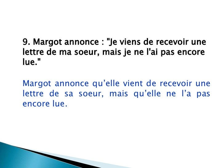 Le Discours Indirect Exercice Ecrit