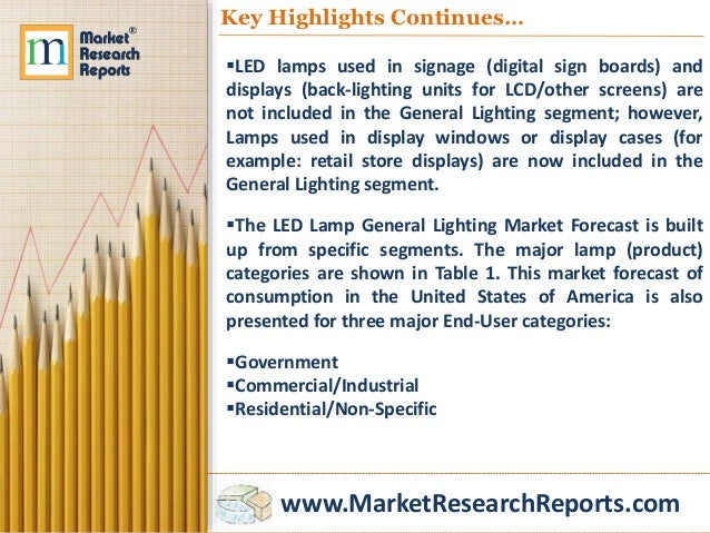 www.MarketResearchReports.com Key Highlights Continues… LED lamps used in signage (digital sign boards) and displays (bac...