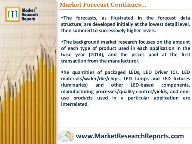 www.MarketResearchReports.com Market Forecast Continues… The forecasts, as illustrated in the forecast data structure, ar...
