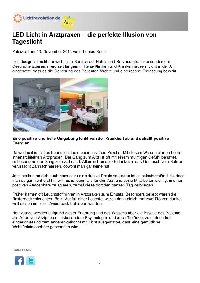 LED Licht in Arztpraxen – die perfekte Illusion von Tageslicht Publiziert am 13. November 2013 von Thomas Beetz Lichtdesig...