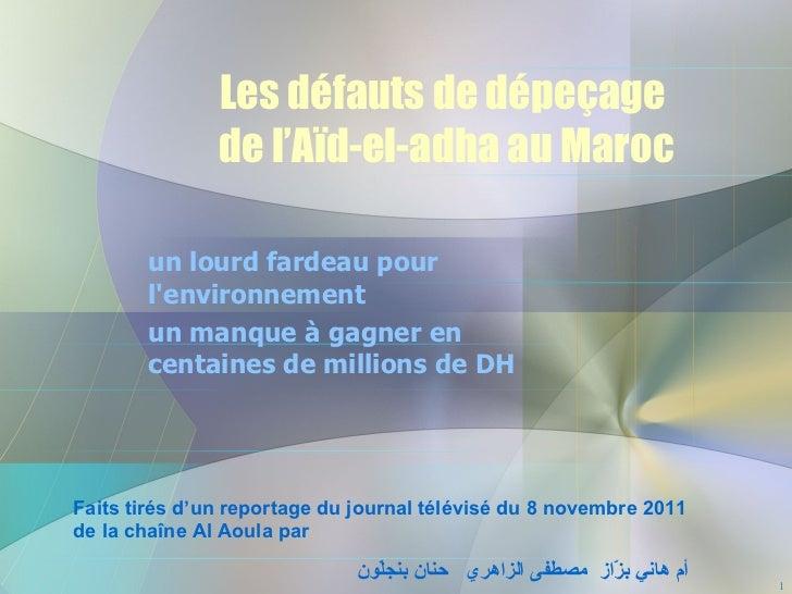 Les défauts de dépeçage  de l'Aïd-el-adha au Maroc un lourd fardeau pour l'environnement un manque à gagner en centaines d...