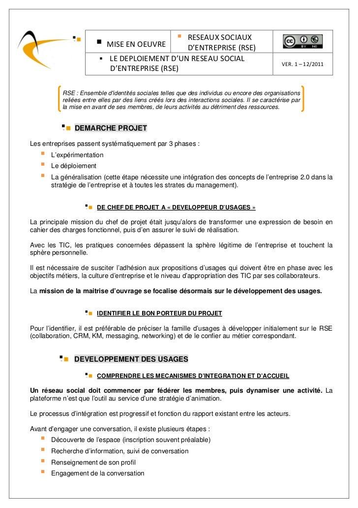 RESEAUX SOCIAUX                            MISE EN OEUVRE      D'ENTREPRISE (RSE)                             LE DEPLOIEME...
