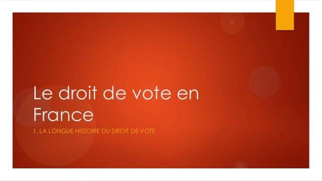 Le droit de vote enFrance1. LA LONGUE HISTOIRE DU DROIT DE VOTE