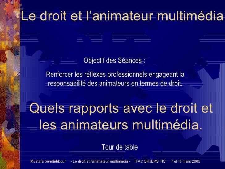 Le droit et l'animateur multimédia Mustafa bendjebbour   -  Le droit et l'animateur multimédia -  IFAC BPJEPS TIC  7 et  8...