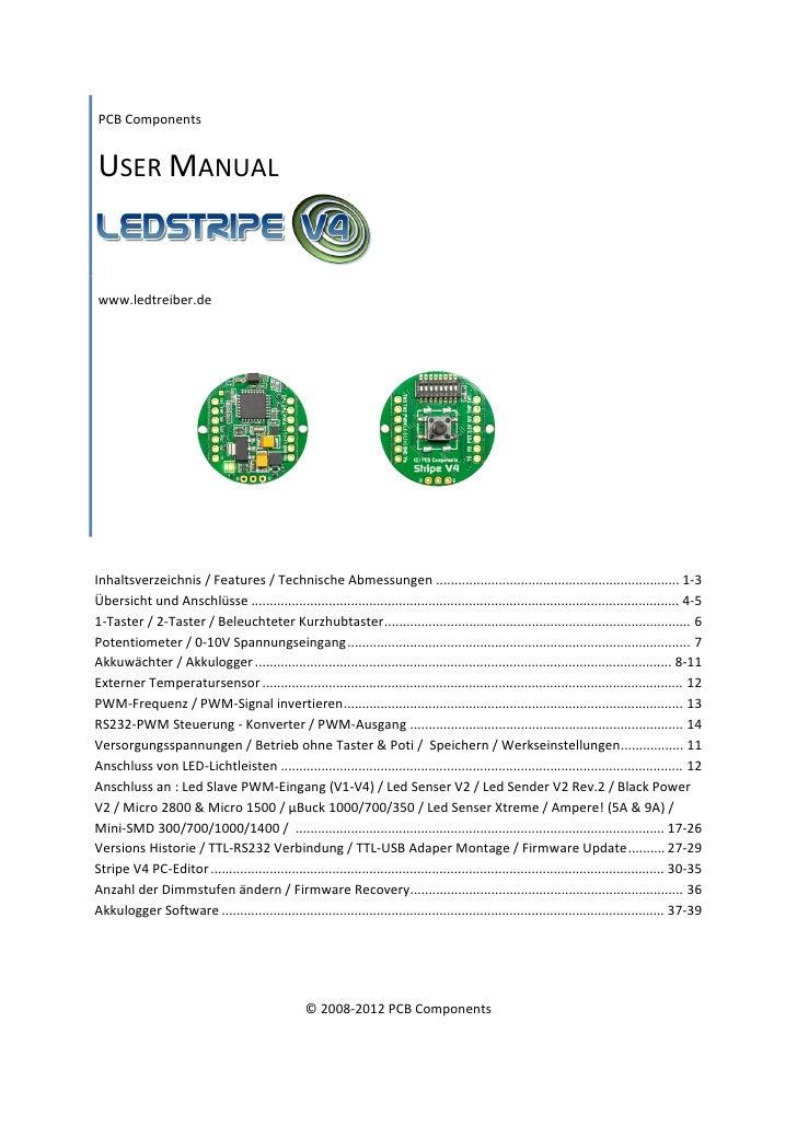 PCBComponentsUSERMANUAL    www.ledtreiber.de       Inhaltsverzeichnis/Features/TechnischeAbmessungen.............