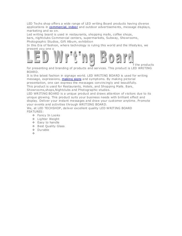 LED Techs shop offers a wide range of LED writing Board products having diverse applications in commercial, indoor and out...