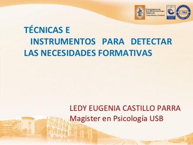 TÉCNICAS E INSTRUMENTOS PARA DETECTAR LAS NECESIDADES FORMATIVAS LEDY EUGENIA CASTILLO PARRA Magister en Psicología USB