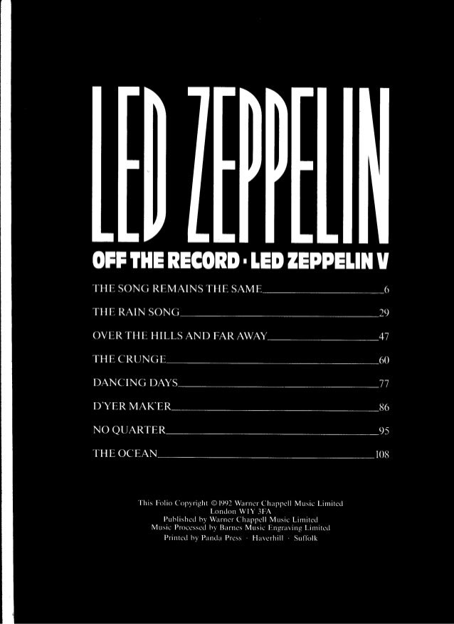 Led Zeppelin Houses Of The Holy Off The Record