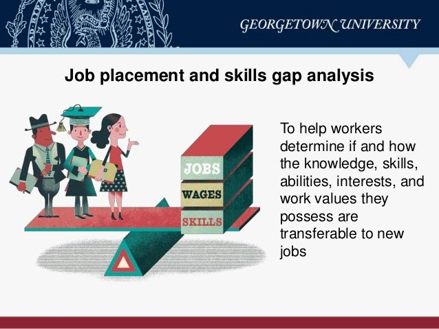 Job placement and skills gap analysis To help workers determine if and how the knowledge, skills, abilities, interests, an...