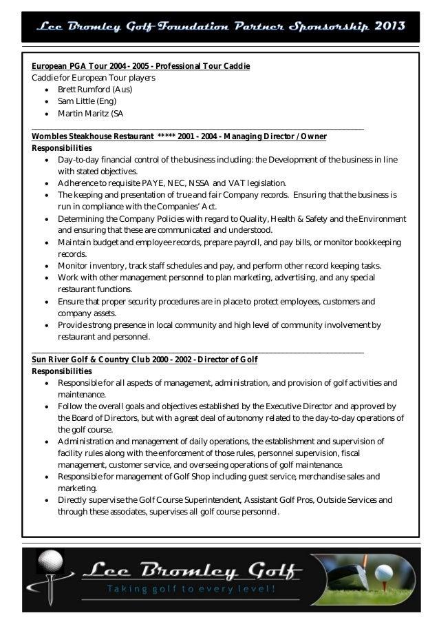 Lee Bromley Golf Foundation Partner Sponsorship Proposal 2013 Opt