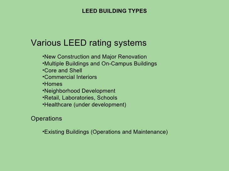 Leed civil engineering strategies for Leed for homes rating system