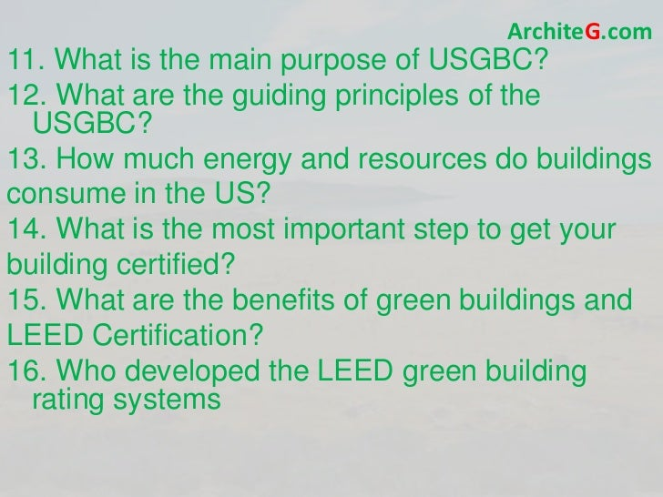 Leed bd c exam prep green building leed certification for Benefits of leed