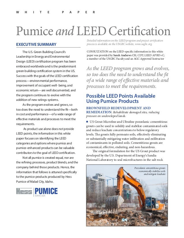 Pumice Products And Leed Certification