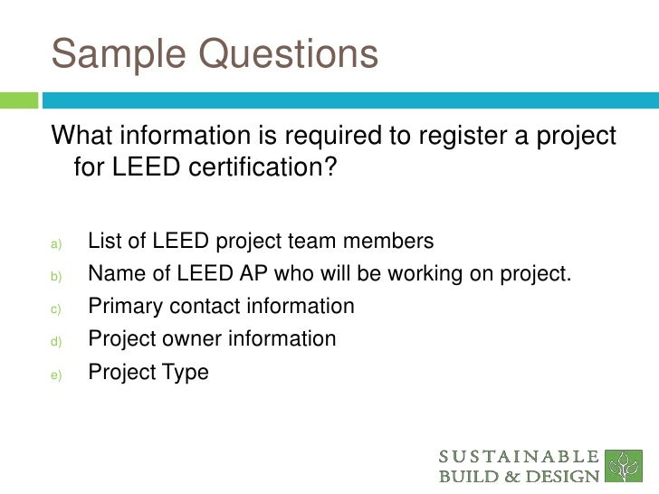 LEED/® NC Practice Problems New Construction