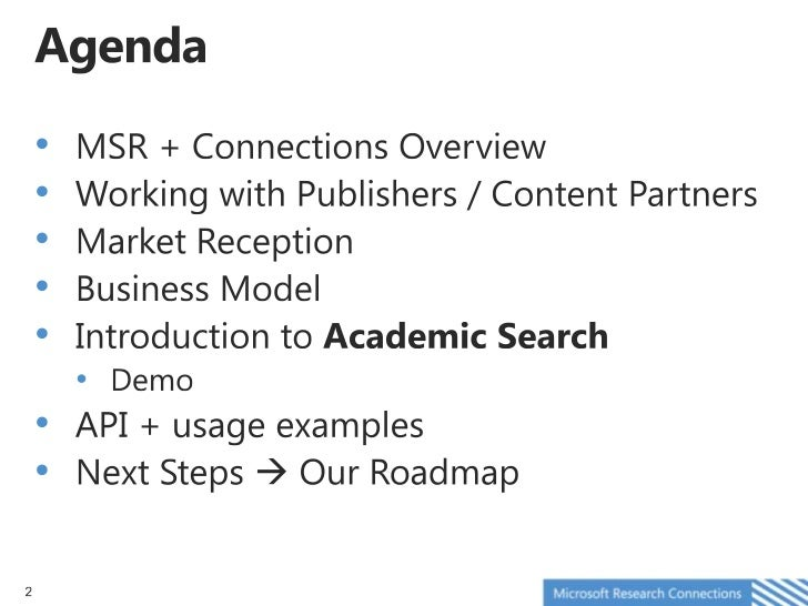 Microsoft Academic Search Overview at NFAIS 2012 - Lee Dirks Slide 2