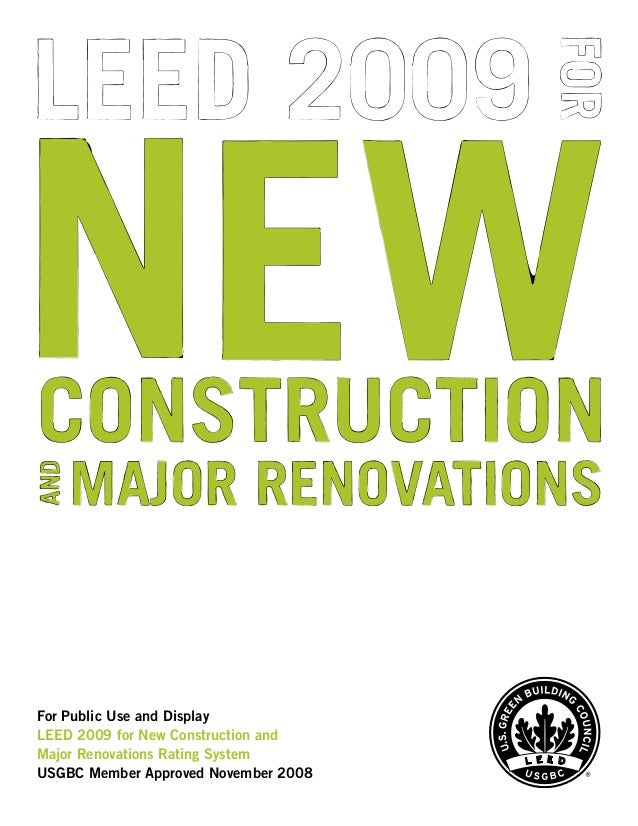 Leed 2009 for new construction and major renovations for Leed for homes rating system