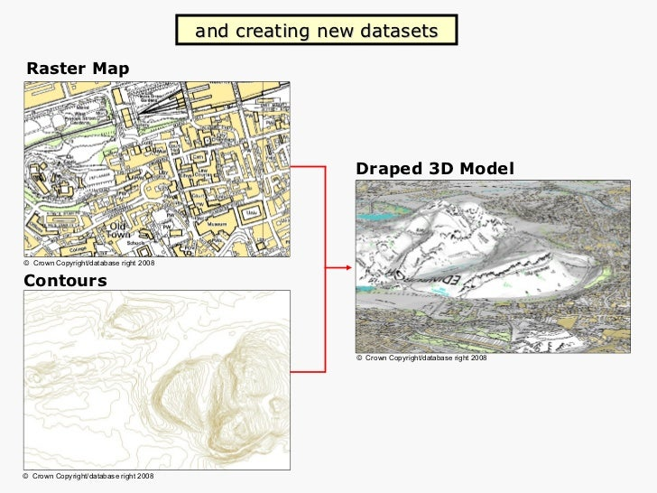Contours Raster Map Draped 3D Model and creating new datasets ©   Crown   Copyright/database   right 2008 ©   Crown   Copy...