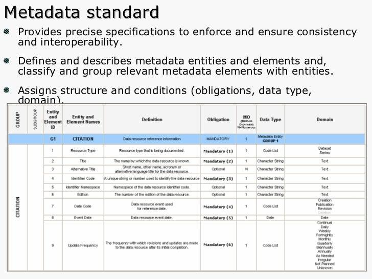 Metadata standard <ul><li>Provides precise specifications to enforce and ensure consistency and interoperability. </li></u...