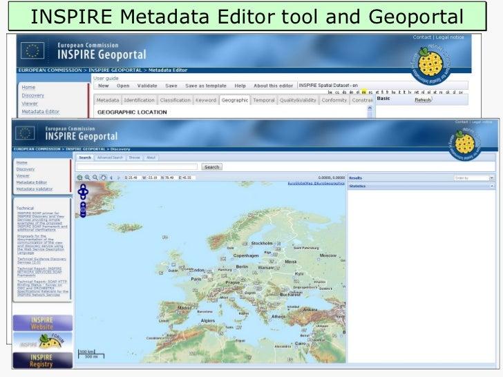 INSPIRE Metadata Editor tool and Geoportal