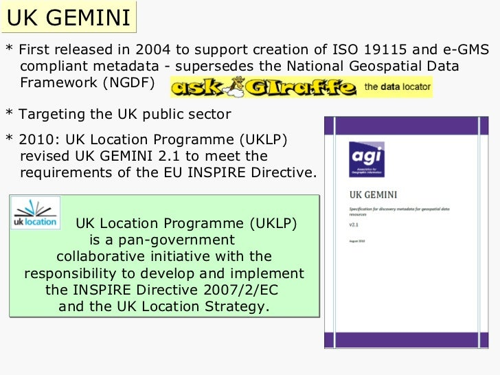 * First released in 2004 to support creation of ISO 19115 and e-GMS compliant metadata - supersedes   the National Geospat...