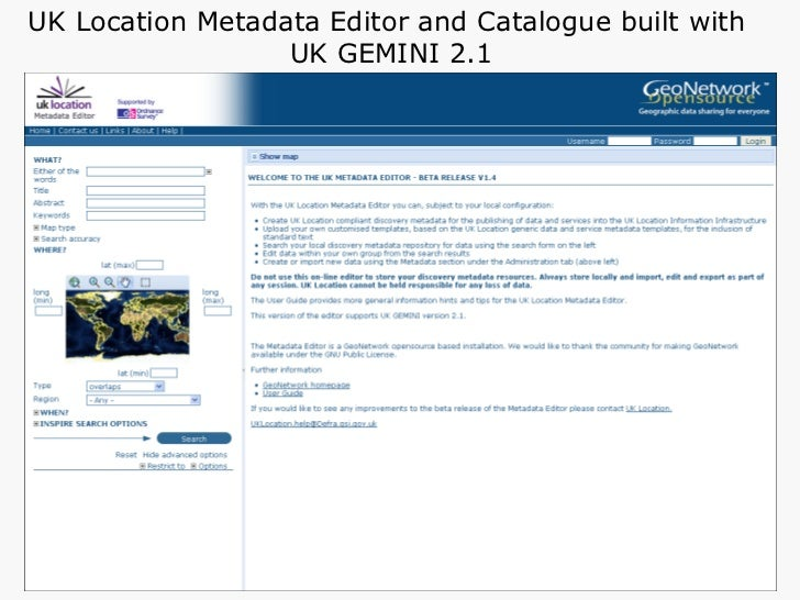 UK Location Metadata Editor and Catalogue built with  UK GEMINI 2.1