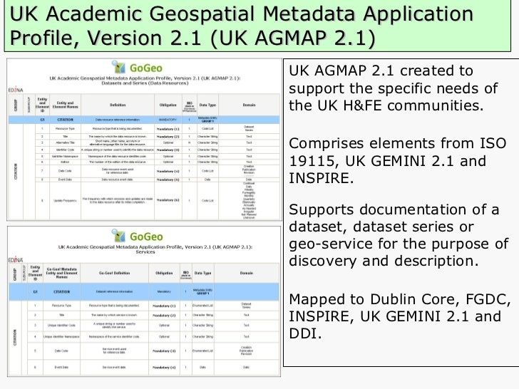 UK Academic Geospatial Metadata Application Profile, Version 2.1 (UK AGMAP 2.1) UK AGMAP 2.1 created to   support the spec...