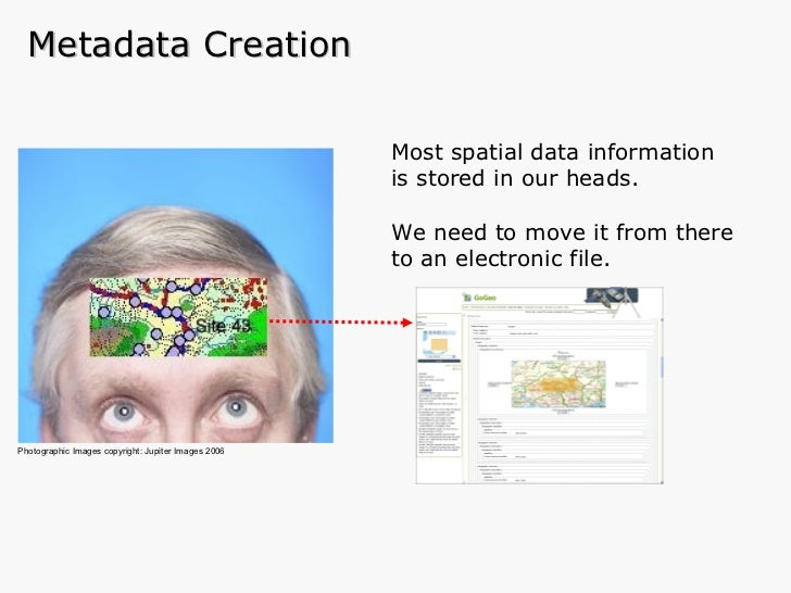 Most spatial data information is stored in our heads. We need to move it from there to an electronic file. Metadata Creati...