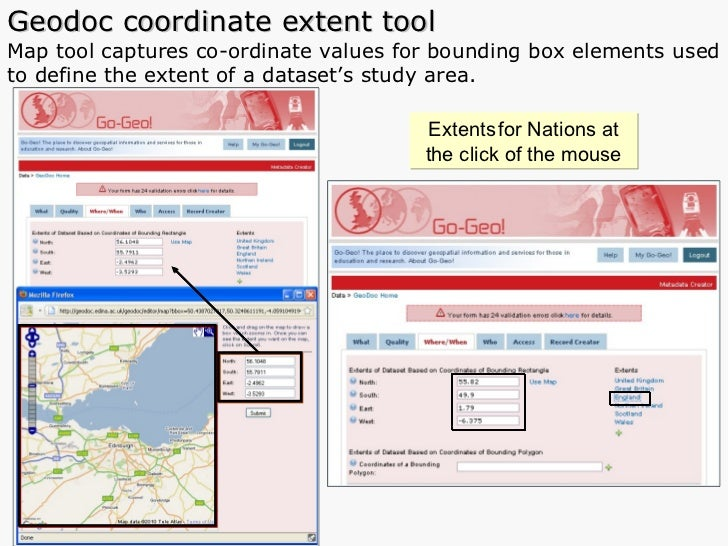 Geodoc coordinate extent tool Map tool captures co-ordinate values for bounding box elements used to define the extent of ...