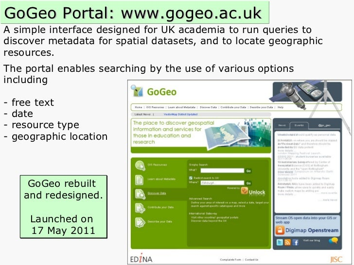 A simple interface designed for UK academia to run queries to  discover metadata for spatial datasets, and to locate geogr...