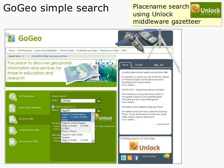 GoGeo simple search Placename search  using Unlock  middleware gazetteer