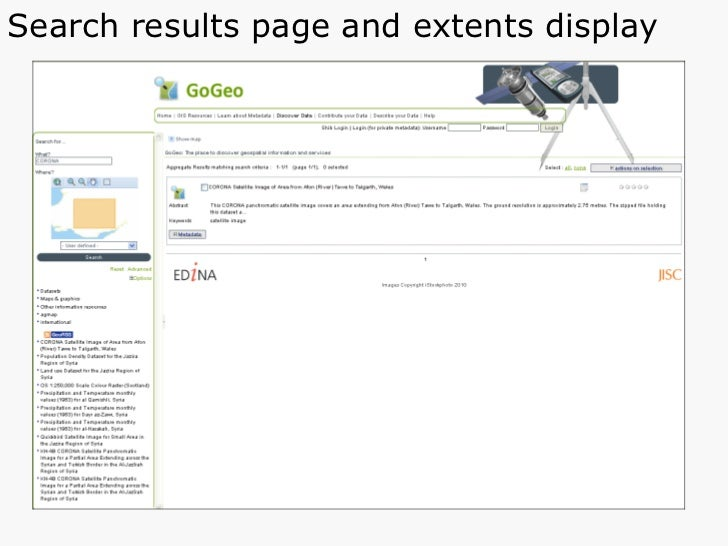 Search results page and extents display
