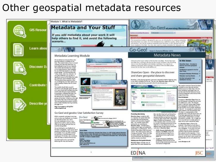 Other geospatial metadata resources