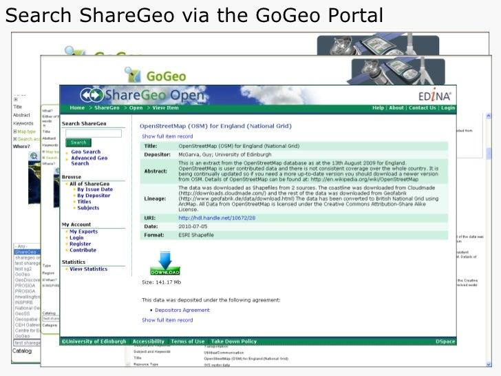 Search ShareGeo via the GoGeo Portal