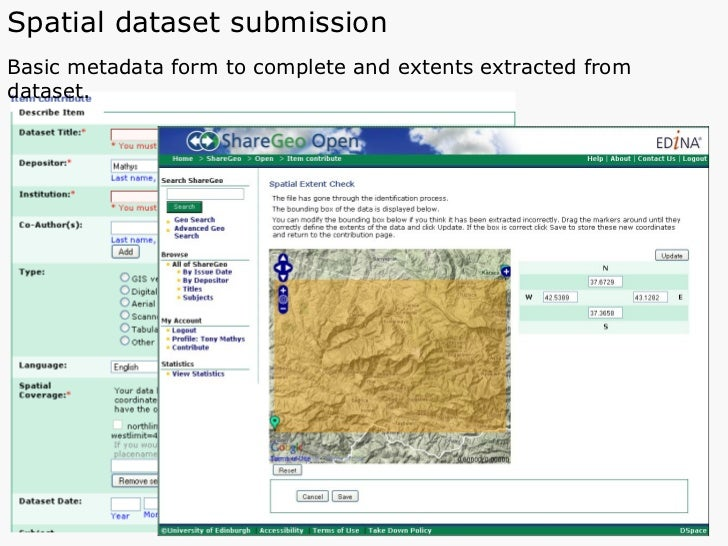 Spatial dataset submission   Basic metadata form to complete and extents extracted from dataset.