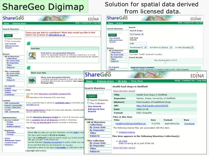 ShareGeo Digimap Solution for spatial data derived  from licensed data.