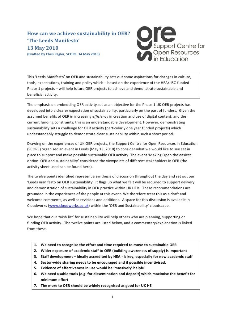 3692525168910How can we achieve sustainability in OER?  'The Leeds Manifesto' 13 May 2010(Drafted by Chris Pegler, SCORE, ...