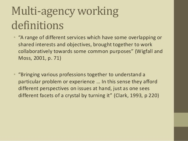 multi professional and multi agency working essay Regarding their professional identities multi-agency working and the development of understanding, trust and mutual respect amongst participants was also emphasised • resourcing multi-agency work: adequate resourcing, in terms of funding.