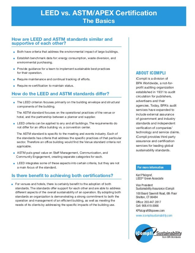 Leed Vs Astmapex Certification The Basics