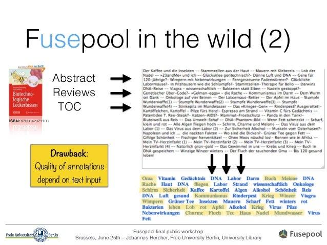 Fusepool final public workshop! Brussels, June 25th – Johannes Hercher, Free University Berlin, University Library Fusepool...