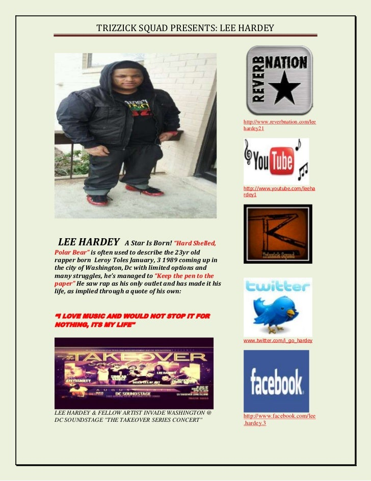 TRIZZICK SQUAD PRESENTS: LEE HARDEY                                                           http://www.reverbnation.com/...