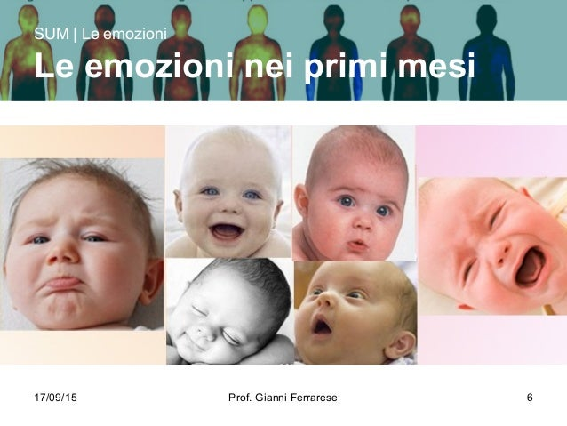17/09/15 Prof. Gianni Ferrarese 6 SUM | Le emozioni Le emozioni nei primi mesi