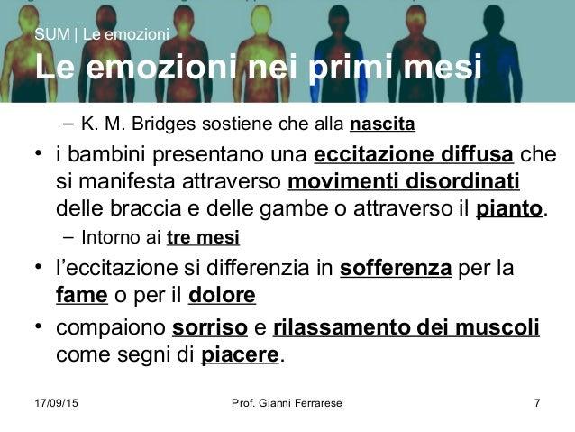 17/09/15 Prof. Gianni Ferrarese 7 – K. M. Bridges sostiene che alla nascita • i bambini presentano una eccitazione diffusa...