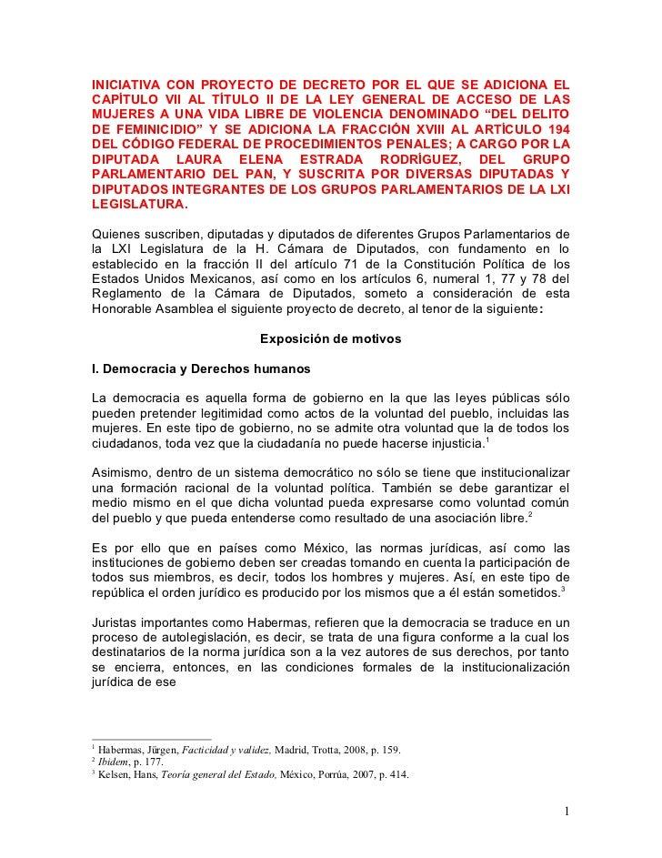 INICIATIVA CON PROYECTO DE DECRETO POR EL QUE SE ADICIONA ELCAPÍTULO VII AL TÍTULO II DE LA LEY GENERAL DE ACCESO DE LASMU...